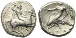 Apulia, Tarentum, Nomos, ca. 332-302 BC; AR ...