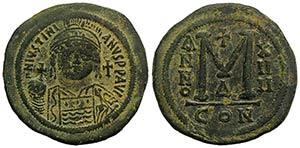 Justinian I (527-565). Æ 40 Nummi (40mm, ...