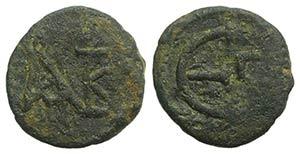 Justin II (565-578). Æ 5 Nummi (12mm, ...