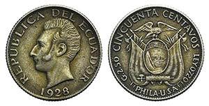 Ecuador, 50 Centavos 1928 (17mm, 2.50g, 6h). ...