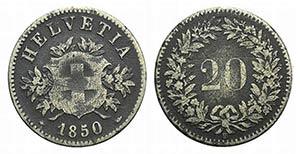 Switzerland, 20 Rappen 1850 (21.5mm, 2.89g, ...