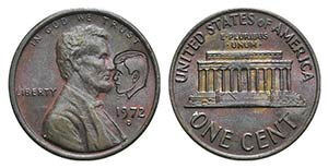 USA, Lincoln 1 Cent 1972 with Kennedy head ...