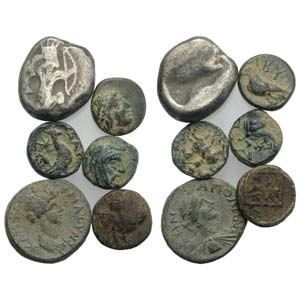 Mixed lot of 6 Greek coins, to be catalog. ...