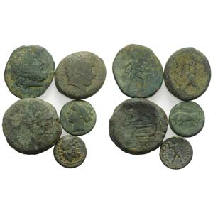 Mixed lot of 5 Æ coins, including 4 Greek ...