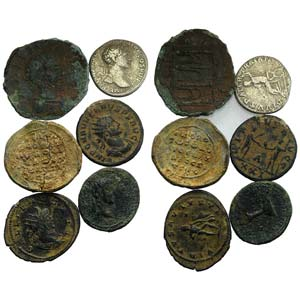 Mixed lot of 6 coins, including Roman ...