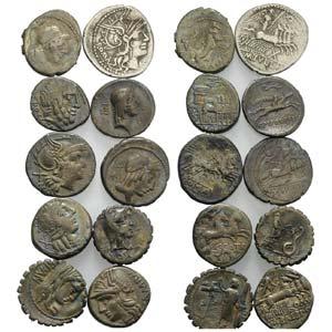 Lot of 10 Roman Republican AR Denarii, to be ...