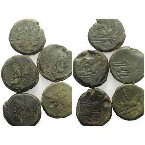 Lot of 5 Roman Republican Æ Sestertii, to ...