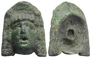 Roman Bronze Theatre Mask Applique, c. ...