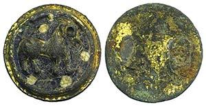 Byzantine Glazed and Gilt Bronze Applique, ...