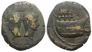 Octavian with Divus Julius Caesar, c. 36 BC. ...
