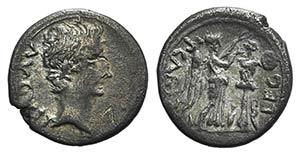 Augustus (27 BC-AD 14). AR Quinarius (13mm, ...