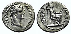 Tiberius (14-37). AR Denarius (18mm, 3.64g, ...