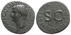 Drusus (Caesar, 19-23). Æ As (28mm, 10.33g, ...