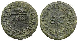 Claudius (41-54). Æ Quadrans (17mm, 2.51g, ...