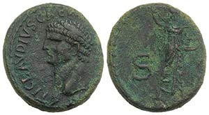 Claudius (41-54). Æ As (26mm, 13.25g, 6h). ...