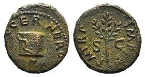 Nero (54-68). Æ Quadrans (15mm, 2.70g, 6h). ...
