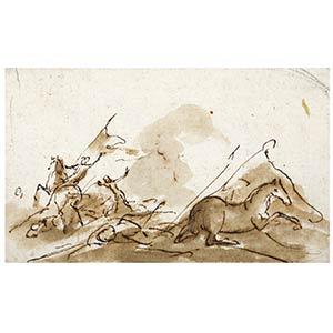 Anonimo, XVII secoloStudio di battagliaPenna ...