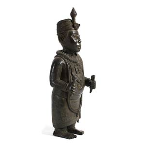 A BRONZE FIGURE OF THE IFE OONI ...