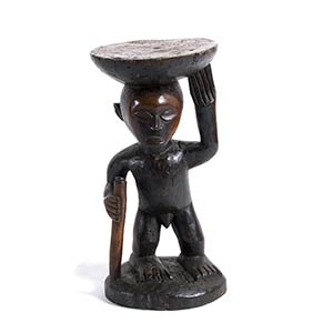 A BEMBE WOODEN STOOL FROM DEMOCRATIC ...