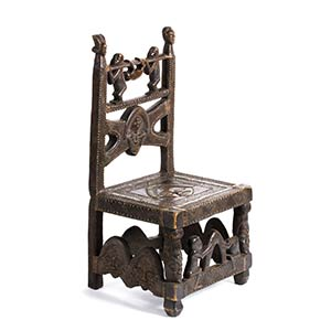 A CHOKWE WOODEN AND BRASS THRONE FROM ...