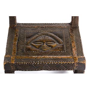 A CHOKWE WOODEN AND BRASS THRONE ...