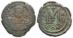 Justinian I (527-565). Æ 40 Nummi (39mm, ...