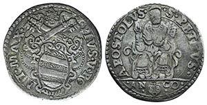 Italy, Papal, Pio V (1566-1572). AR Testone, ...