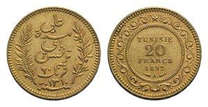 Tunisia, AV 20 Francs 1892, Paris (21mm, ...