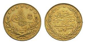 Turkey, Abdul Hamid II (1876-1909). AV 100 ...
