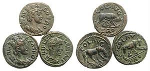 Troas, Alexandria, lot of 3 Æ coins, ...