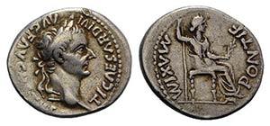 Tiberius (14-37). AR Denarius (19mm, 3.75g, ...