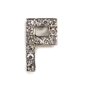 Spilla da giacca in diamanti a forma di P ...