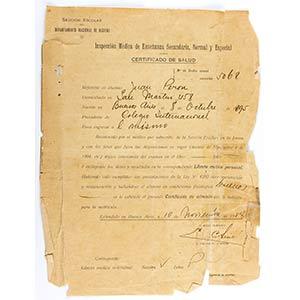 Due certificati sanitari di Juan Domingo ...