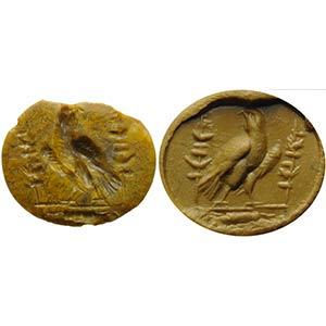 Intaglio romano in diaspro giallo. Aquila ...