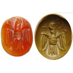 Intaglio sassanide in corniola. Aquila che ...