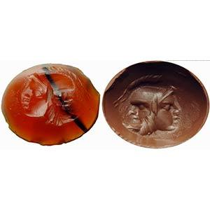 Intaglio romano in corniola con banda nera. ...
