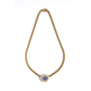 SAPPHIRE AND DIAMOND GOLD NECKLACERealized ...