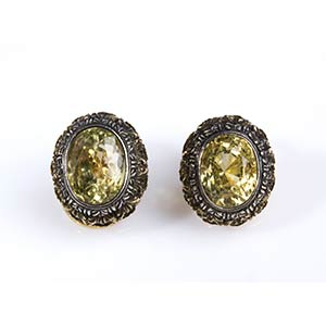 PAIR OF YELLOW SAPPHIRE AND GOLD EAR ...