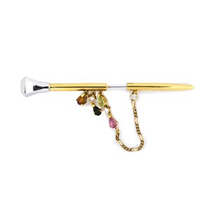 GOLD, DIAMOND AND GEM BROOCHRealized in two ...