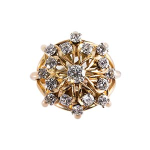DIAMOND AND GOLD CLUSTER RING -  FRANCE, 50S ...