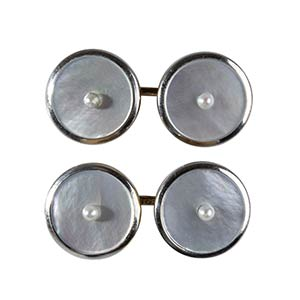 GOLD, PLATINUM AND MOTHER OF PEARL CUFFLINKS ...