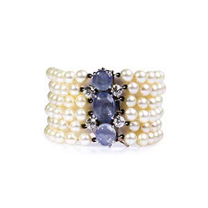 PEARL, SAPPHIRE AND DIAMOND GOLD ...
