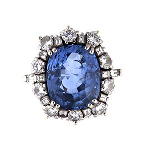 SAPPHIRE AND DIAMOND GOLD COCKTAIL RING - ...