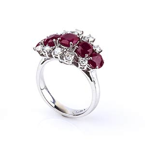 RUBY, DIAMOND AND GOLD RINGRealized in white ...