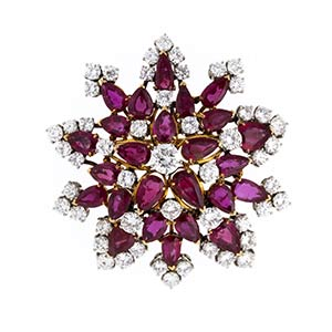 DIAMOND AND RUBY GOLD BROOCH - 70SRealized ...