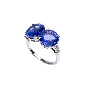 SAPPHIRE AND DIAMOND GOLD RING - SIGNED ...