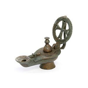 Byzantine Bronze Lamp With Cross Handle5th - ...