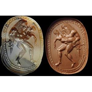 Fine, archaic greek intaglio on an agate ...