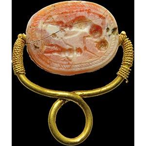 An etruscan intaglio on a burnt carnelian ...