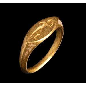 A greek gold ring. Warrior. The helmeted ...